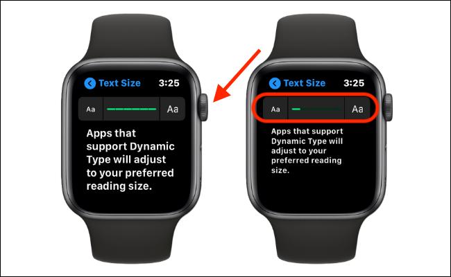 Aumentar el tamaño del texto en Apple Watch