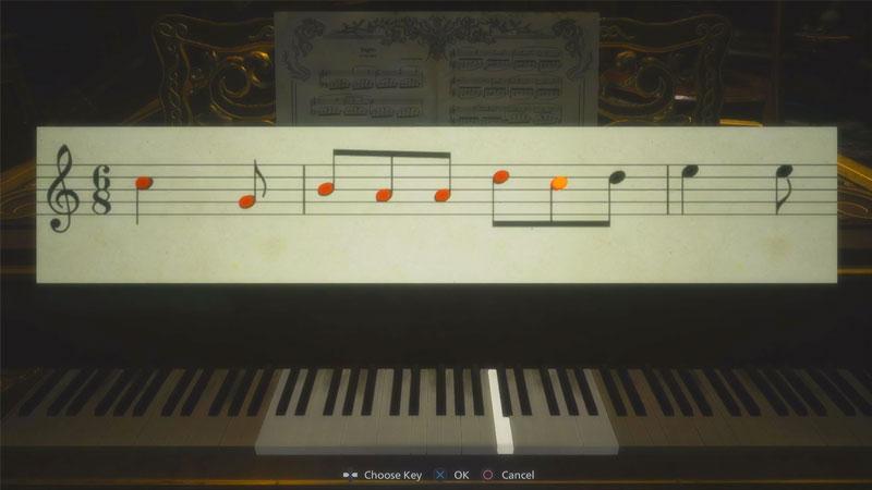 Resident Evil Village cómo resolver un rompecabezas de piano