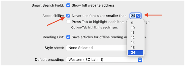 """Permitir """"Nunca use tamaños de fuente más pequeños que"""" Opción"""