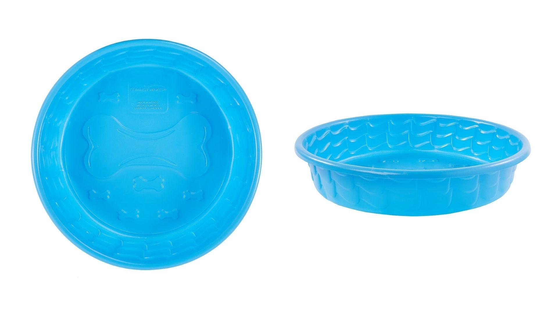 Una pequeña piscina para perros de plástico vista superior y vista lateral.