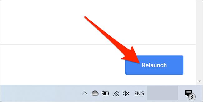 """Hacer clic """"Relanzar"""" en Chrome """"Experimentos"""" pestaña."""