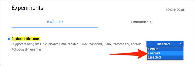 """Permitir """"Nombres de archivo del portapapeles"""" en Chrome """"Experimentos"""" pestaña."""