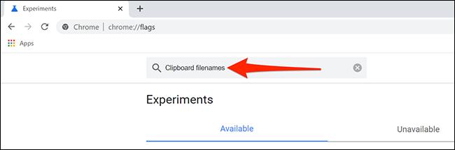 """Busque los nombres de archivo del Portapapeles en Chrome """"Experimentos"""" pestaña."""