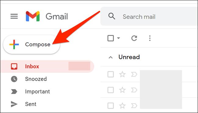 """Hacer clic """"Componer"""" en la interfaz de Gmail."""