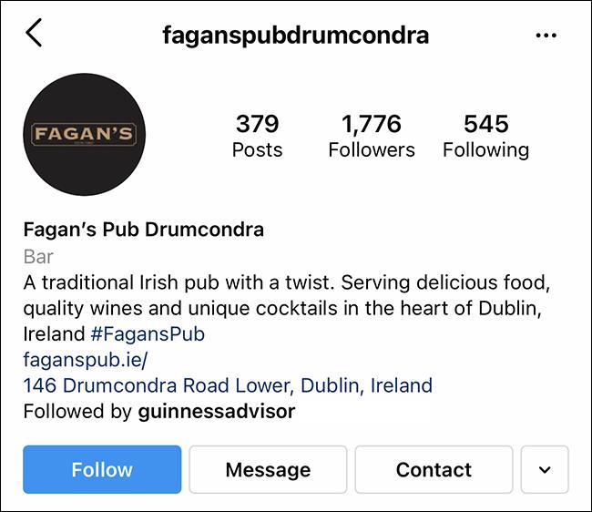 cuenta comercial de instagram