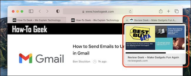 Un ejemplo de vista previa de pestañas en Safari en Mac