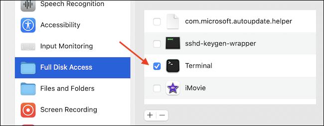 Habilitar el acceso completo al disco para la aplicación Terminal