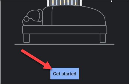 """Grifo """"Empezar"""" en el """"Hora de acostarse"""" aplicación."""