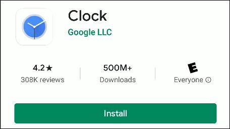 La aplicación Google Clock en Play Store.