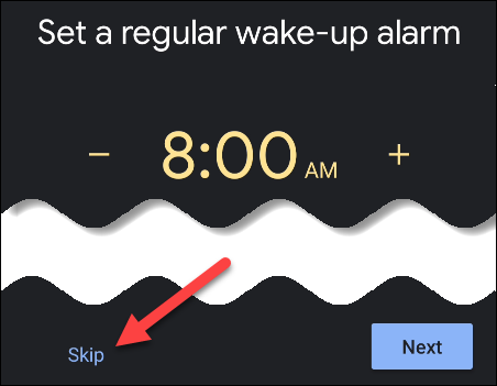 omitir la configuración de una alarma