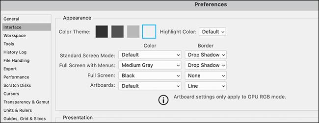 """Un ejemplo de Photoshop """"Preferencias"""" ventana con un tema claro."""