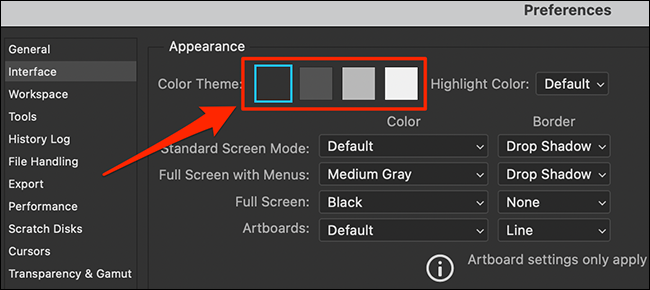 """Seleccione un """"Tema de color"""" en Photoshop """"Preferencias"""" ventana."""