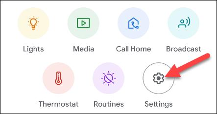 toque la configuración en la aplicación de inicio de Google