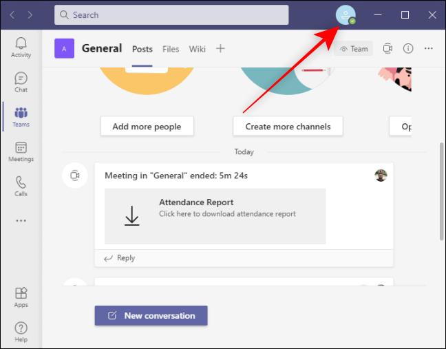 Icono de perfil Arriba a la derecha en Microsoft Teams