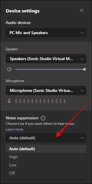 Opción de supresión de ruido en la configuración del dispositivo en Microsoft Teams