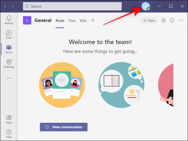 Haga clic en el icono de perfil para abrir la configuración en el equipo