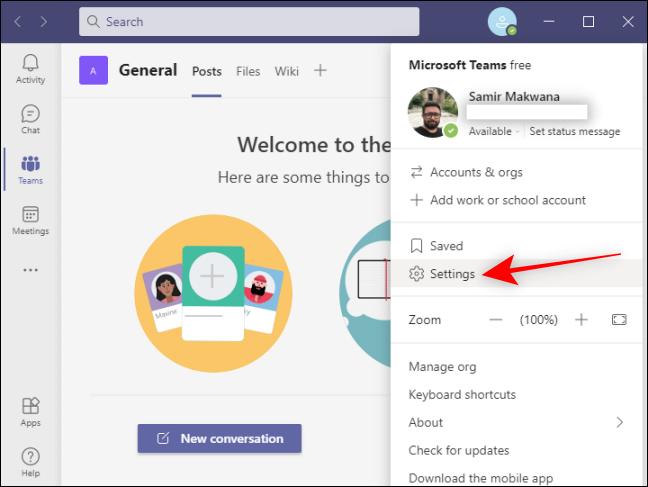 Haga clic en Configuración en Teams para su perfil