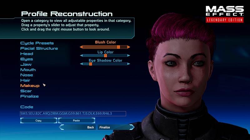 Mass Effect Legendary Edition Canjear códigos faciales