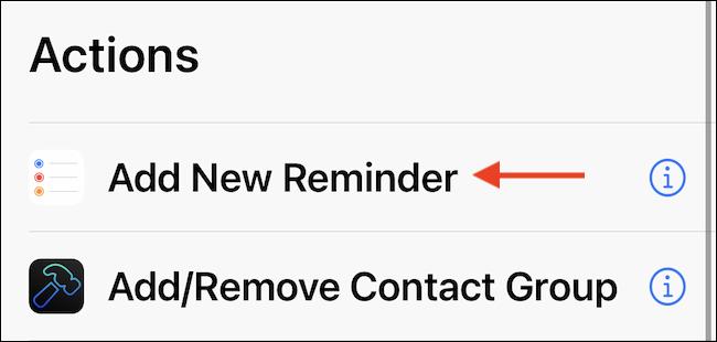 """Utilizar el """"Agregar nuevo recordatorio"""" acción en el atajo."""