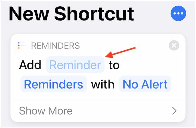 """Toque en el """"Recordatorio"""" para personalizar la entrada de acceso directo."""