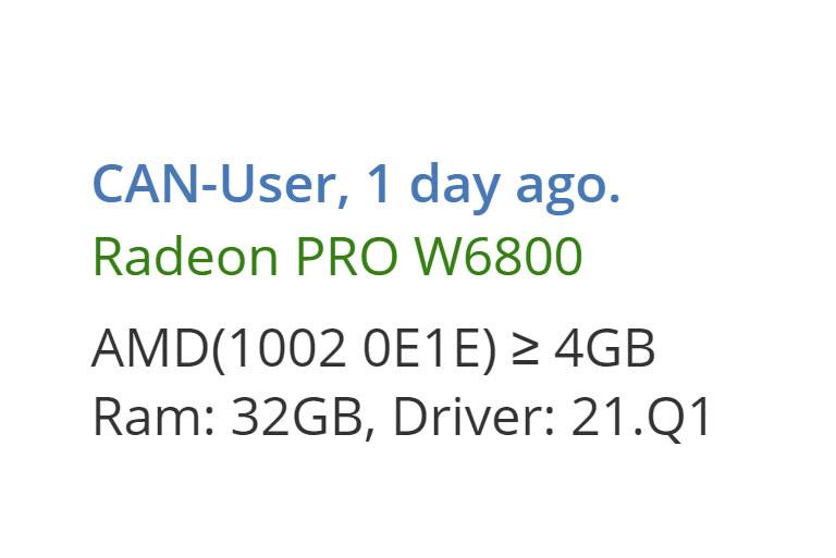 AMD Radeon Pro W6800 con 32 GB de memoria