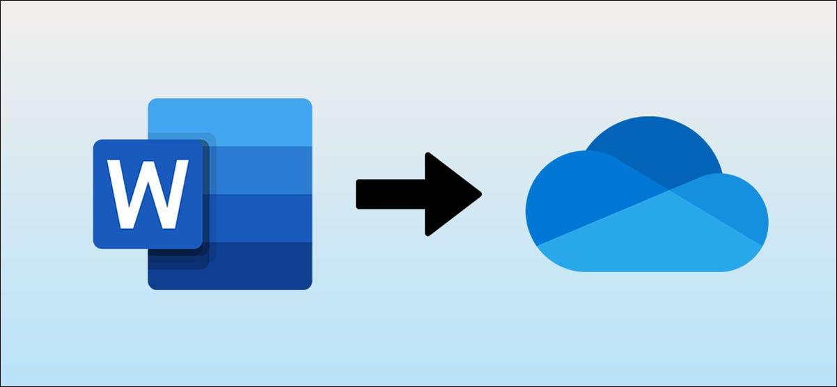 Logotipo de Microsoft Word con una flecha apuntando al logotipo de OneDrive