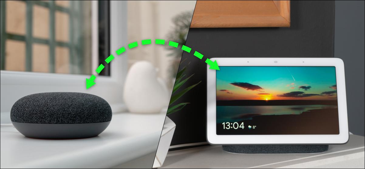 un altavoz de Google y una pantalla inteligente