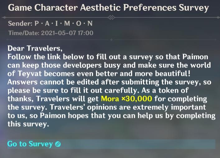 Encuesta de diseño de personajes de Genshin Impact