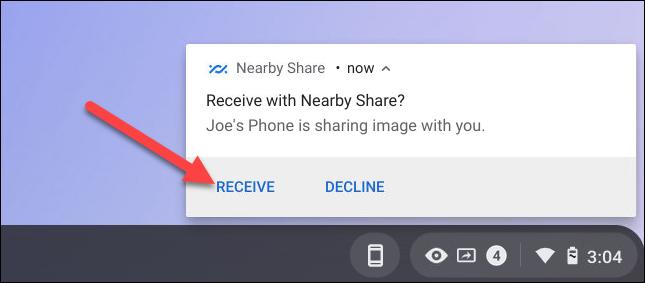 recibir contenido compartido cercano en Chromebook