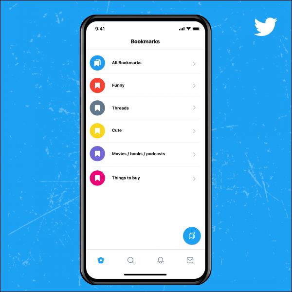 Carpeta de marcadores de Twitter Blue.