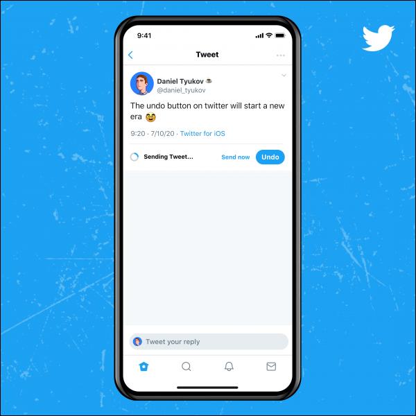 Botón de deshacer Twitter azul.