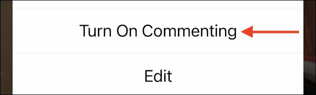 """Seleccione """"Activar comentar"""" para volver a habilitar los comentarios."""