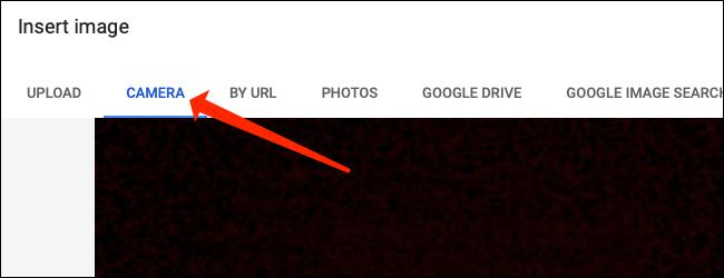 """Haga clic en el """"Cámara"""" pestaña para tomar una foto en Hojas de cálculo de Google."""