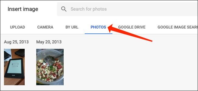 """Haga clic en el """"Fotos"""" pestaña en Hojas de cálculo de Google."""