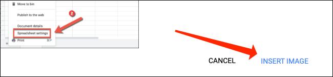 """Hacer clic """"Insertar imagen"""" para agregar una imagen dentro de una celda en Google Sheets."""
