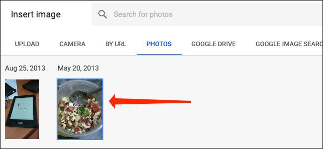 Seleccione una imagen de Google Photos dentro de Google Sheets.