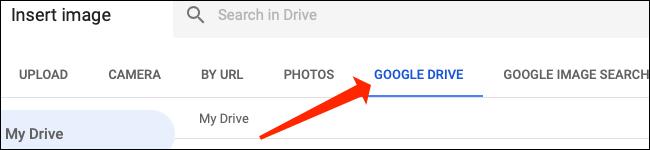 """Hacer clic """"Google Drive"""" para seleccionar imágenes de allí para Google Sheets."""