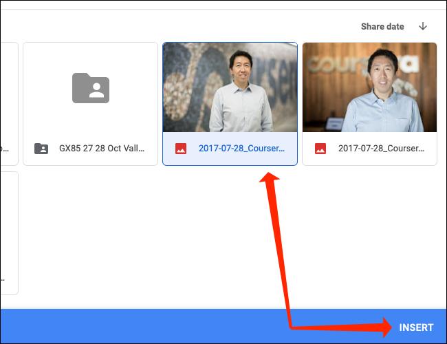 """Seleccione la imagen de Google Drive y haga clic en """"Insertar"""" para agregarlo a una celda en Google Sheets."""