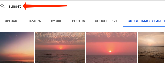 Utilice el cuadro de búsqueda para encontrar una imagen de Google Images dentro de Google Sheets.
