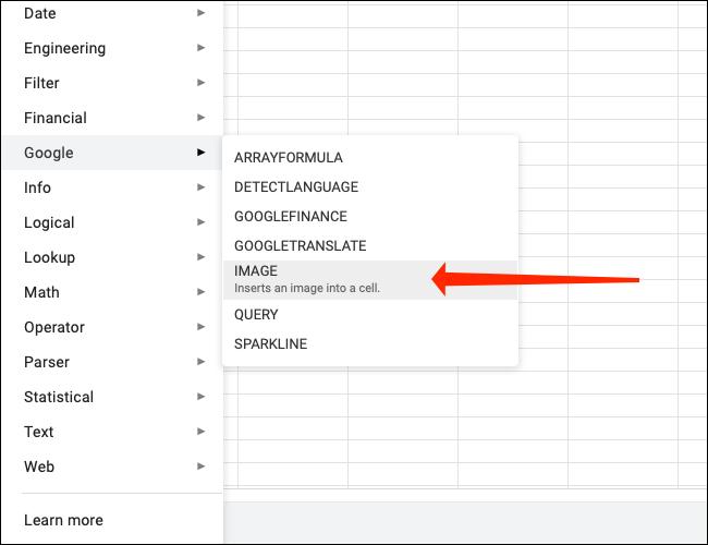 """Hacer clic """"Imagen"""" para utilizar la función Imagen en Google Sheets."""