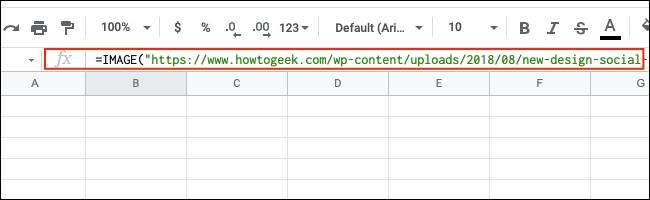La barra de fórmulas en Google Sheets.