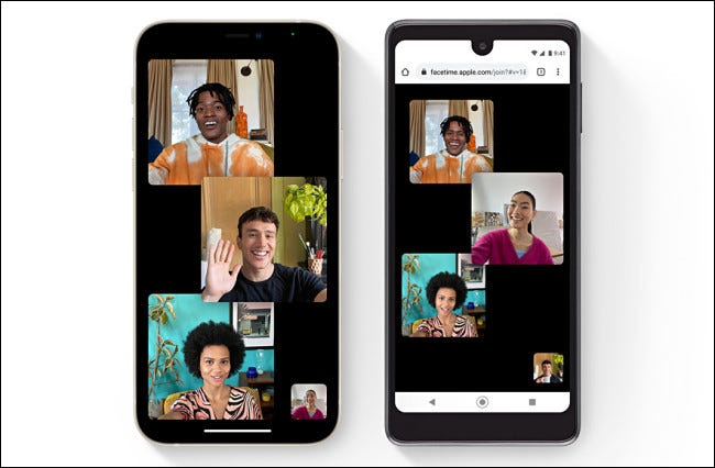 Apple FaceTime ejecutándose en iOS 15.