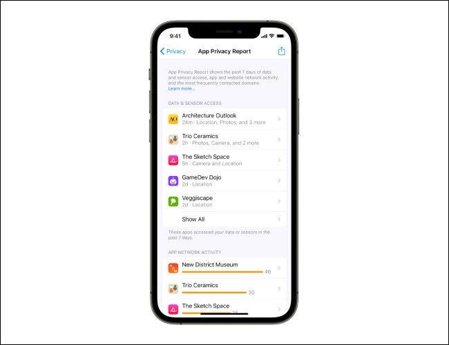 Informe de privacidad de la aplicación en iOS 15.