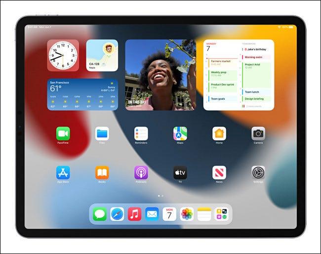 Widgets de pantalla de inicio de iPad en iPadOS 15.