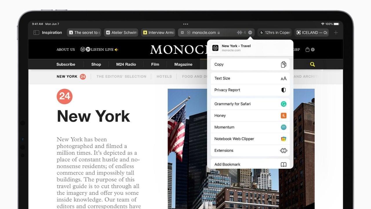 Las extensiones web están llegando a iPhone y iPad.  Imagen: Apple