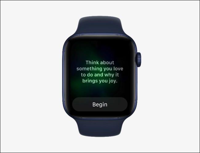 Apple Watch que muestra la aplicación Mindfulness en watchOS 8.