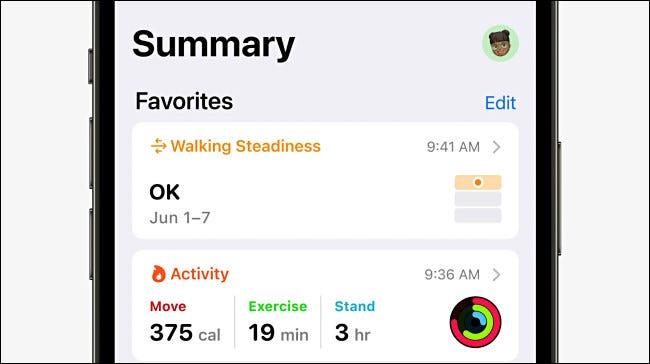Métrica de estabilidad al caminar en la aplicación Apple Health.