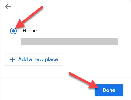 """seleccione una ubicación y toque """"hecho"""""""