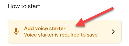 """Toque en el """"Agregar Voice Starter"""" opción"""