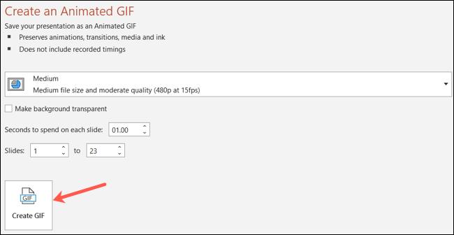 Haz clic en Crear GIF.